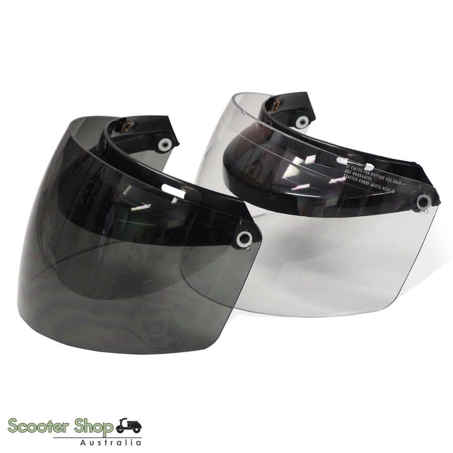 UNIVERSAL 3 STUD RATCHET VISOR IN CLEAR OR TINT